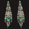 Antique Victorian Portuguese ear pendants earrings rose cut diamond and emeralds