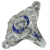 Magnificent Art Deco platinum diamond and sapphire engagement ring