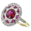 Most decorative Belle Epoque diamond ruby antique engagement ring