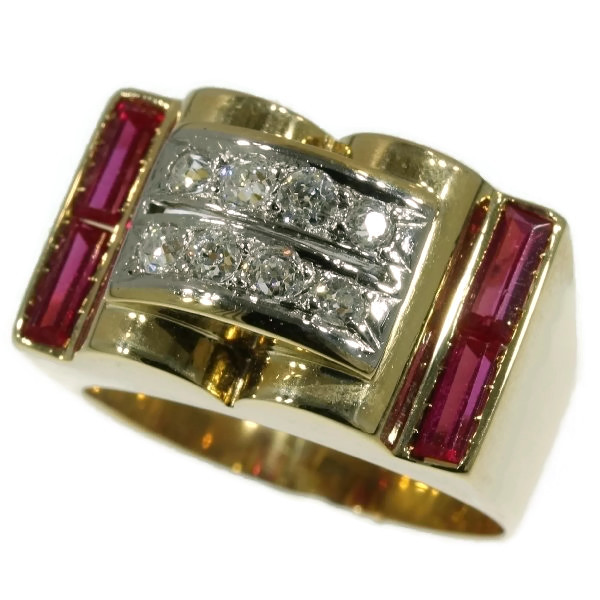 Ruby and diamonds gold retro ring