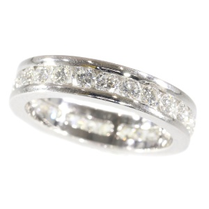 White gold estate eternity band or a so-called alliance ring set with brilliants