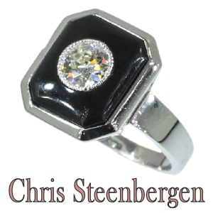 Artist Jewelry by Chris Steenbergen engagement ring gold onyx brilliant Art Deco