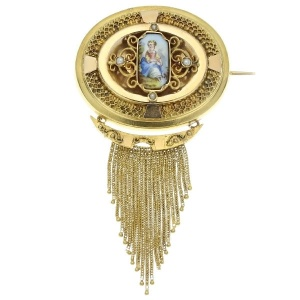 Gold Biedermeier brooch and locket antique Victorian brooch with enamel