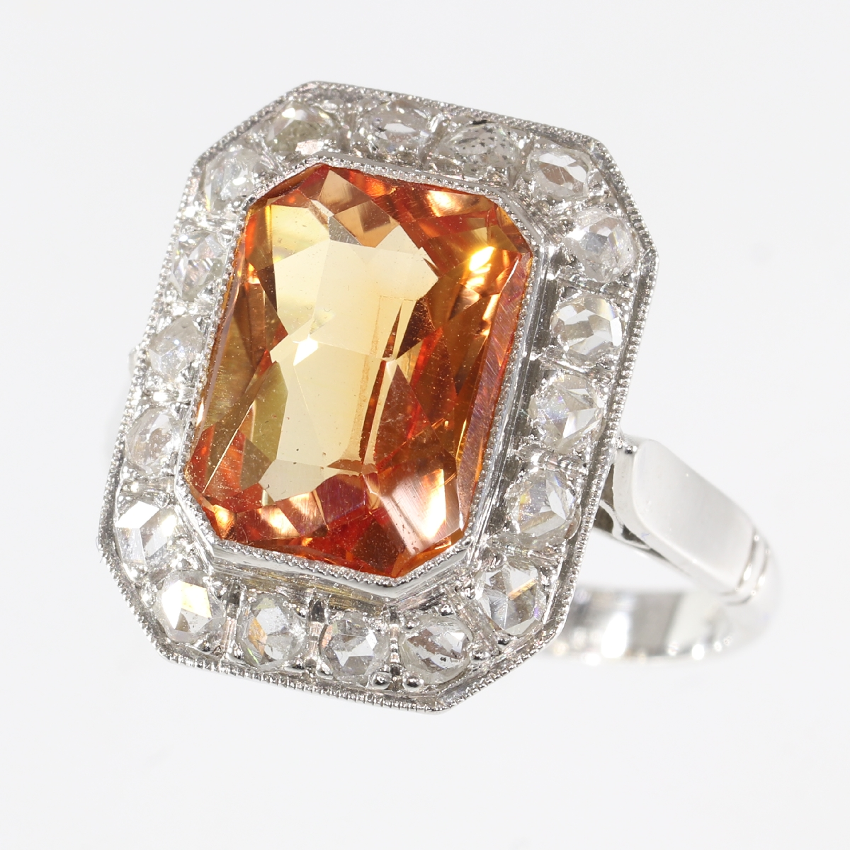 Estate rose cut diamonds ring with Verneuil padparadscha sapphire