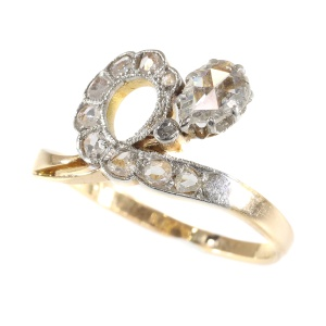 Antique diamond engagement asymmetric with pear shaped rose cut diamond