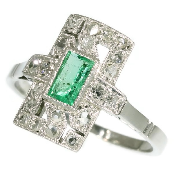 Estate platinum Art Deco engagement ring with diamonds and emerald