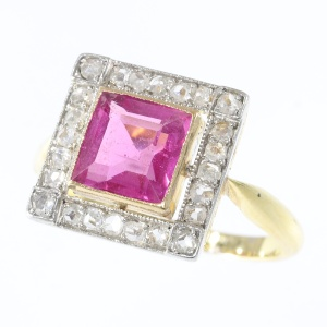 Estate Art Deco ring with rose cut diamonds and pink spinel