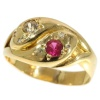 Victorian antique ring two intertwined snakes with ruby and diamonds
