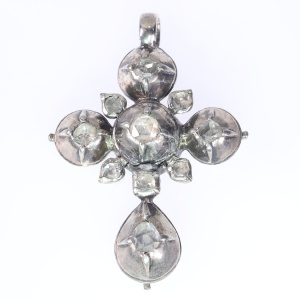 Early Victorian antique silver rose cut diamonds cross