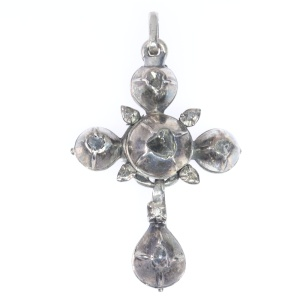 Early Victorian antique silver cross set with rose cut diamonds