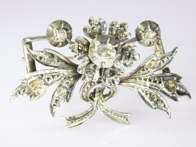 Antique Belgian Victorian gold backed silver branch brooch with rose cut diamond