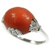 Strong stylish Art Deco ring with diamonds and coral