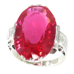 French Art Deco large Verneuil ruby and diamond engagement ring