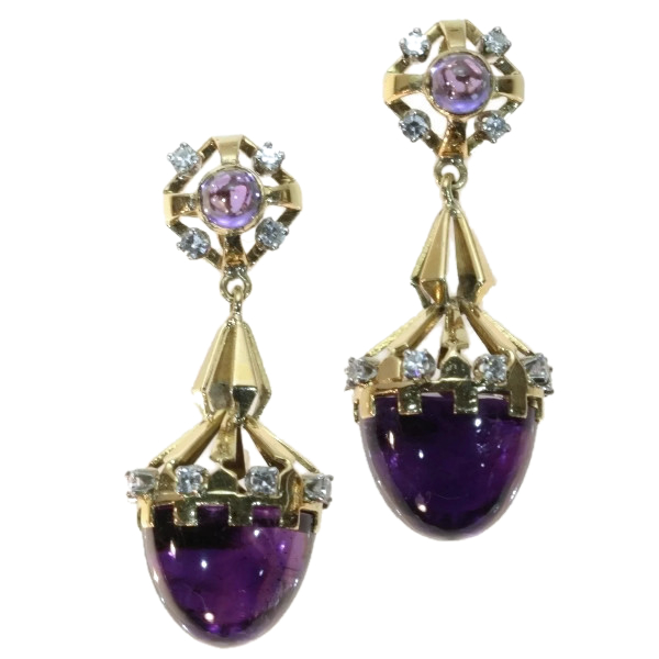 Retro two tone gold long pendent earrings with cabochon amethysts and diamonds