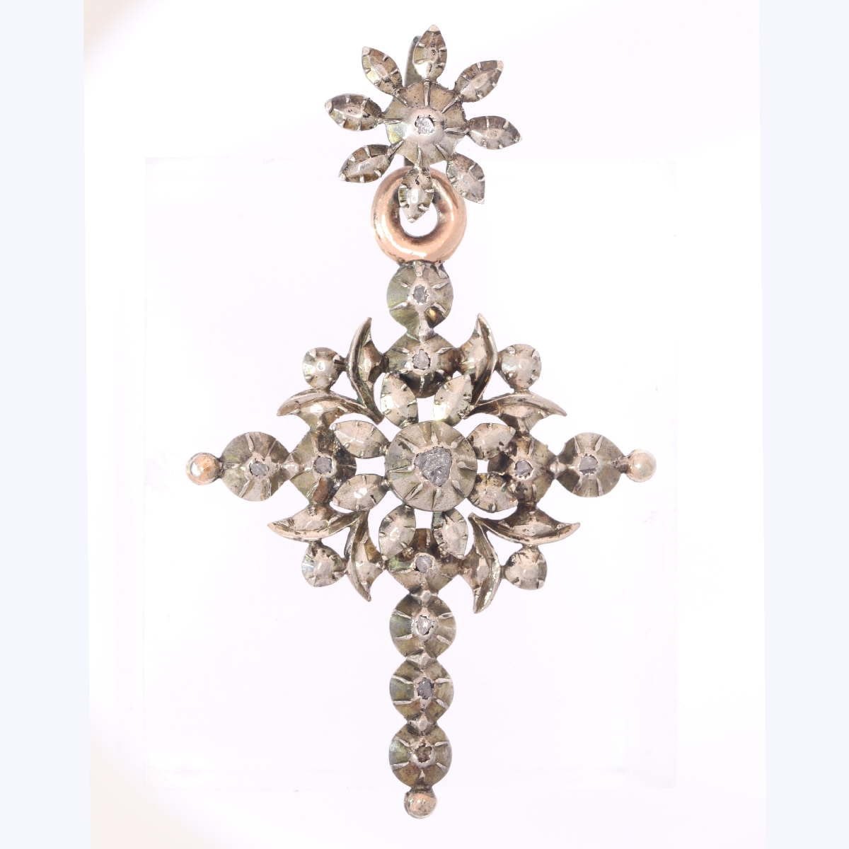 Typical Belgian Victorian rose cut diamond cross pendant 19th century