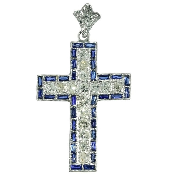 Art Deco platinum diamond cross with sapphires