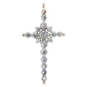 Victorian rose cut diamond cross pendant