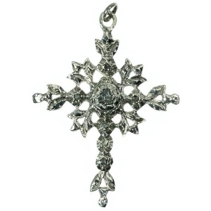 Nineteenth century Victorian antique cross with rose cut diamonds