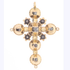 Antique Belgian Georgian gold cross pendant with old table cut rose cut diamonds