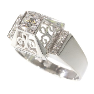 Unusual platinum diamond engagement ring from the fifties