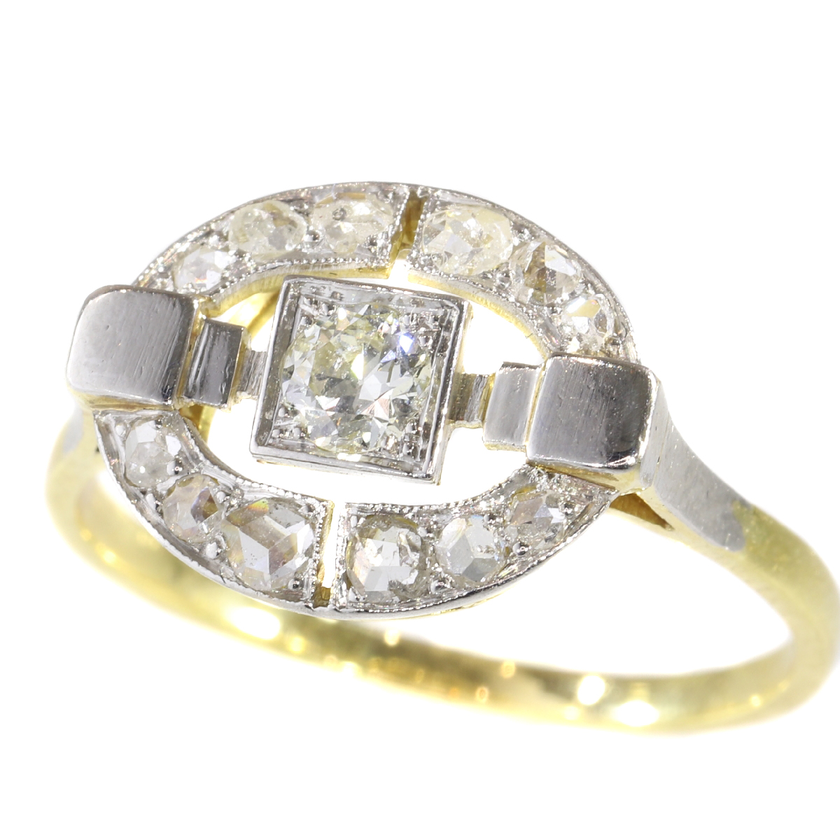 Art Deco diamond ring in two tone gold