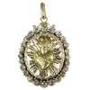 Antique Dutch Victorian pendant locket sacred heart with rose cut diamonds