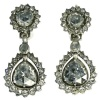 Georgian antique earrings with big pear shaped rose cut diamonds
