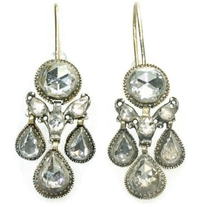 Top notch Baroque rose cut diamond ear jewels antique earrings