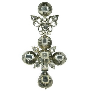 Baroque silver cross with table cut rose cut diamonds in high quality
