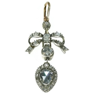 Antique Georgian era love pendant with big rose cut diamond