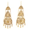 Old antique Dutch chandelier filigree long pendent earrings
