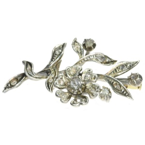 Antique diamond branch brooch