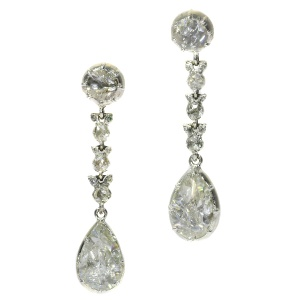 Antique Georgian long pendant big rose cut diamond earrings