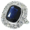 Belle Epoque Art deco engagement ring Lady Di ring with big sapphire diamonds