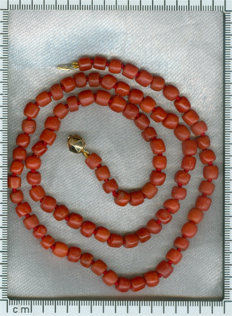 Antique Dutch Victorian coral bead necklace