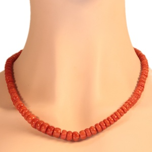Antique red coral bead necklace with gold closure