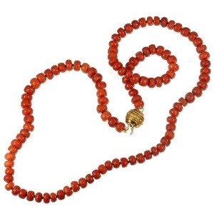 Antique coral bead necklace with gold closure