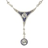 Art Deco Belle Epoque pendant with big brilliants and calibrated sapphires