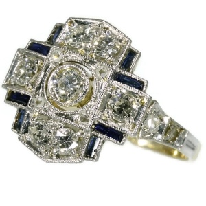 Art Deco engagement ring with diamonds and sapphires