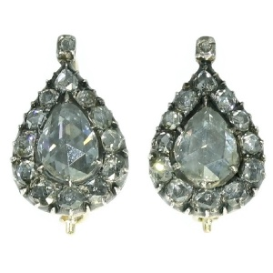 High class magnificent pear shaped rose cut diamond antique earrings