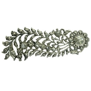 Dutch antique style feather brooch foil set rose cut diamonds