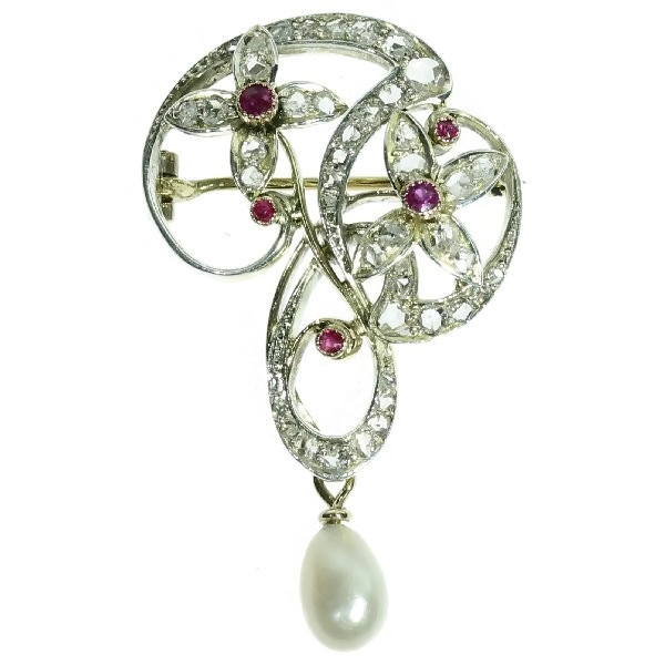 Art Nouveau brooch with diamonds and rubies Jugendstil