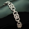 French platinum Art Deco diamond bracelet with closure skillfully hidden in it