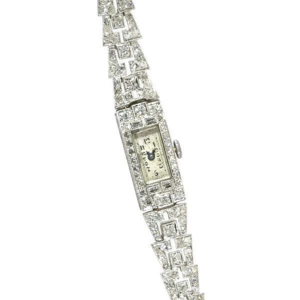 Platinum Vintage Art Deco ladies wrist watch with 100 diamonds!
