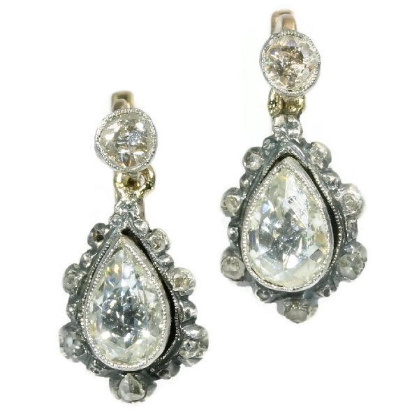 Antique rose cut diamond earrings pear shaped