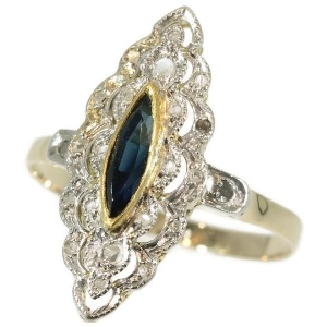 Belle Epoque Art Deco diamond sapphire engagement ring