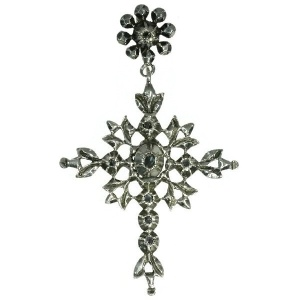 Flemish antique cross pendant with rose cut diamonds mid 19th century