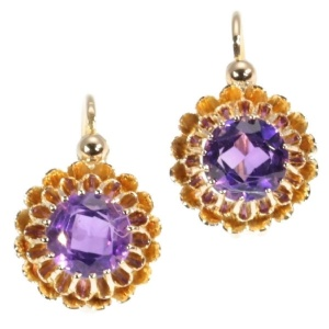 French antique Victorian earrings with amethyst