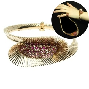 Typical Fifties pink gold bangle with rubies and part of a parure