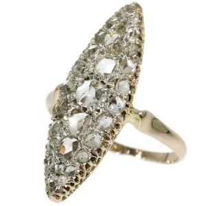 Antique rose cut diamond marquise-shaped ring